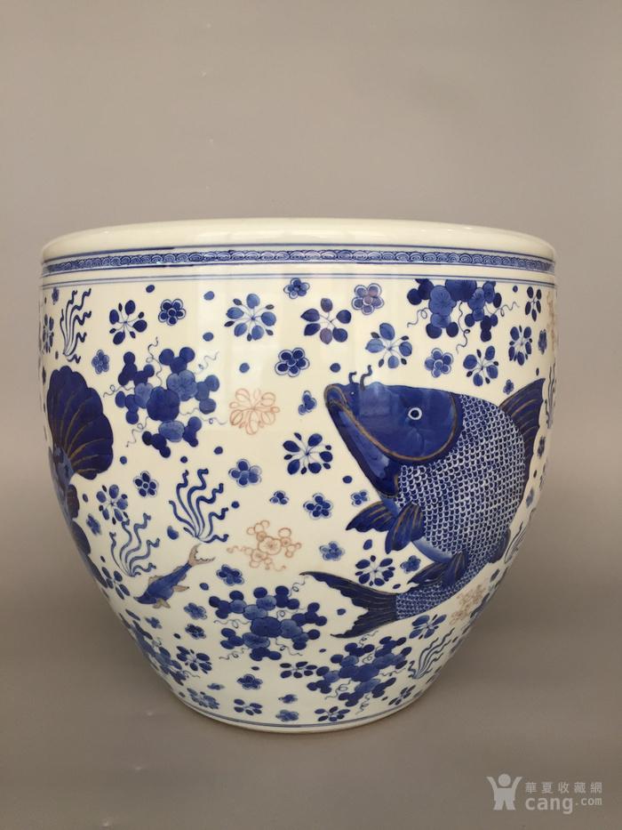 清三代鱼藻纹文房书画缸,高34.2cm,口径38.8cm图2