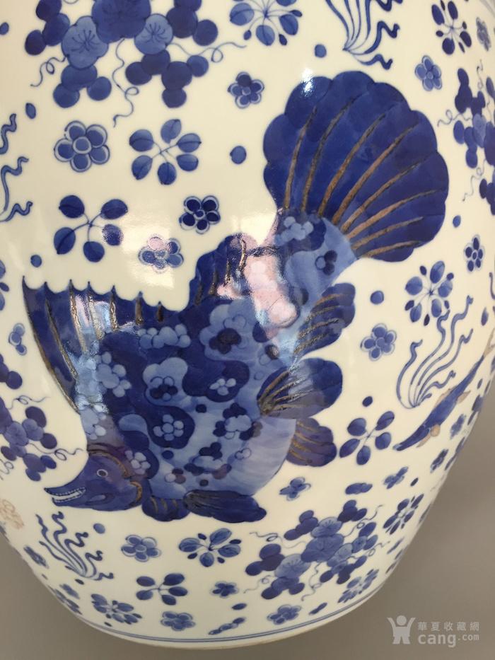 清三代鱼藻纹文房书画缸,高34.2cm,口径38.8cm图7