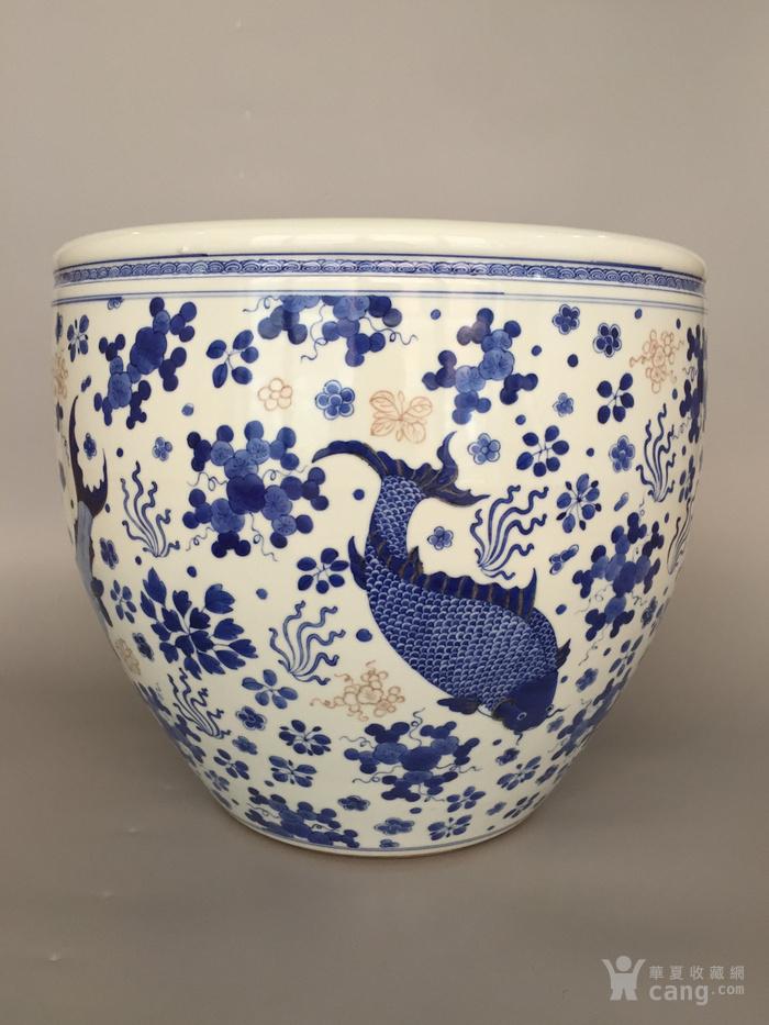 清三代鱼藻纹文房书画缸,高34.2cm,口径38.8cm图3