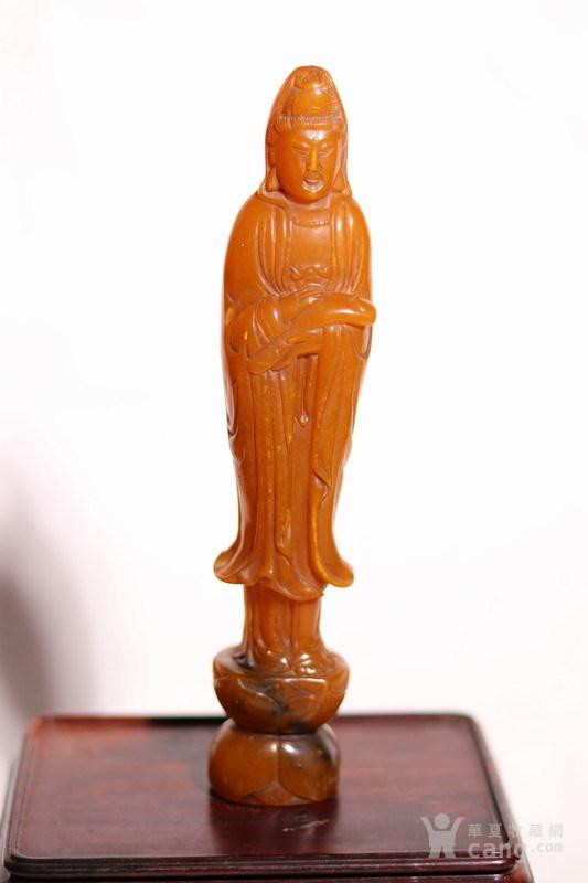 清代    寿山石巧雕观音摆件印章图1