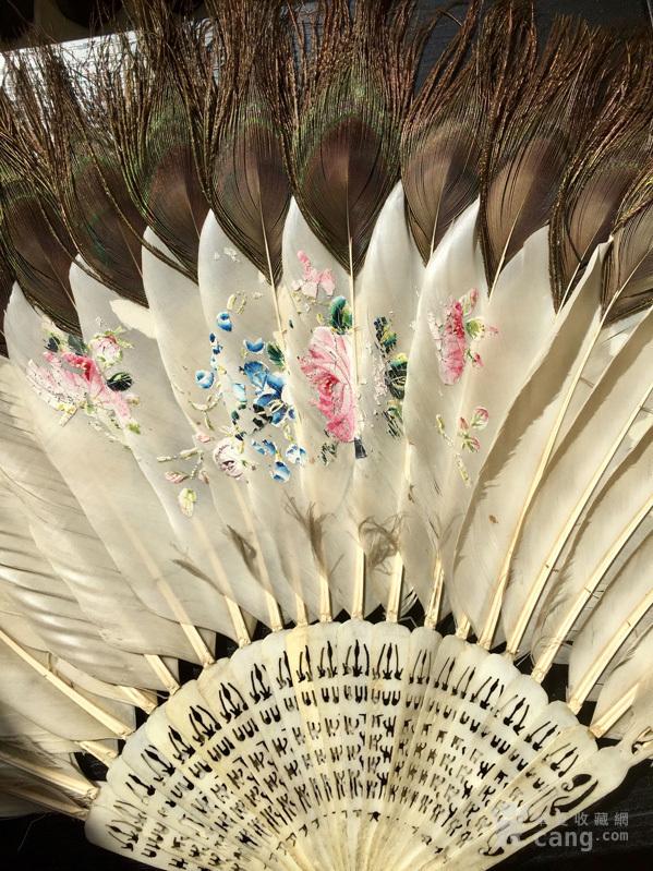 清代 双面工 人物 花卉 孔雀羽 折扇,不议价。图8