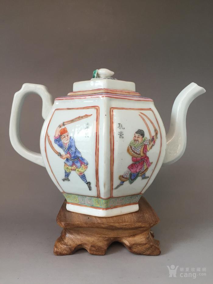 晚清粉彩六方茶壶一把图1