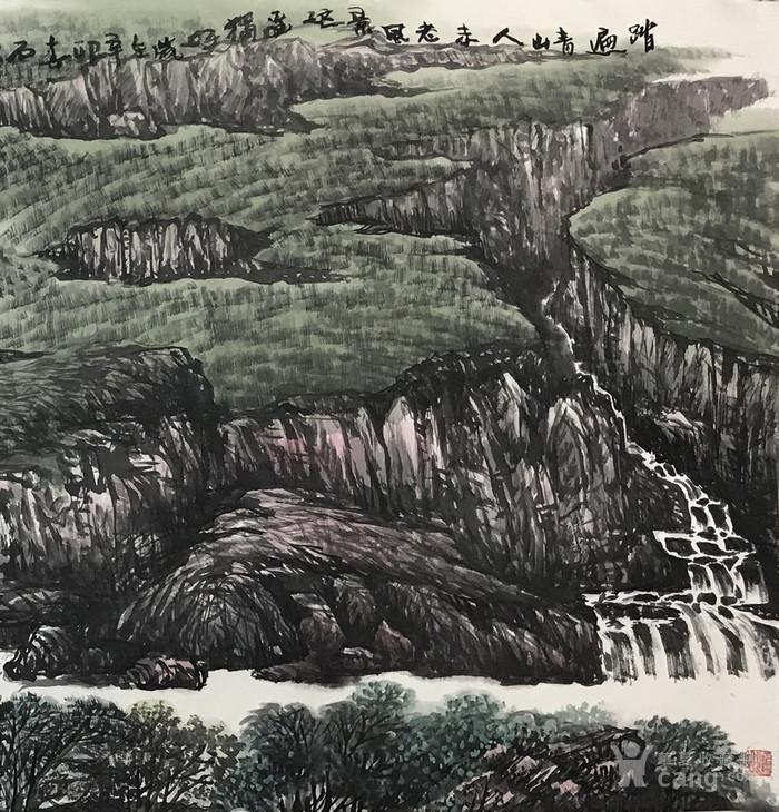 华夏书画城 书画 当代 保真中国国画家协会理事石泉国画山水画客厅画
