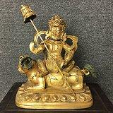 清代老紫铜鎏金黄财神占巴拉占巴拉色波造像 老铜佛 老佛像