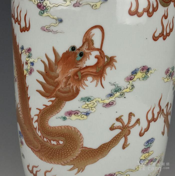 清代粉彩 描金双龙纹棒槌瓶图6