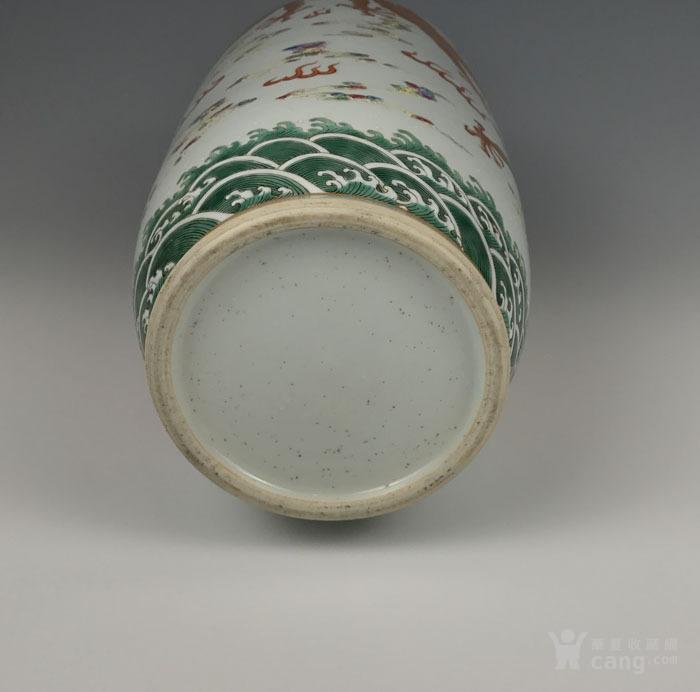 清代粉彩 描金双龙纹棒槌瓶图9