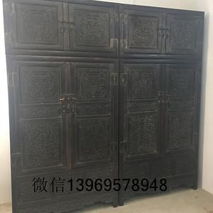 古董木器明清木雕小叶紫檀雕龙鼎箱柜一对