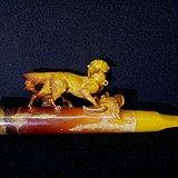 德国回流1930年精雕猎犬狩猎老蜜蜡古董烟斗 高端精品