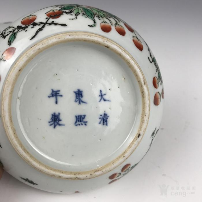 清代 五彩花果纹印泥盒图7