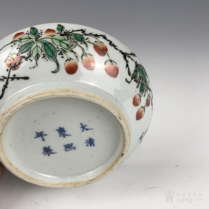 清代 五彩花果纹印泥盒图6