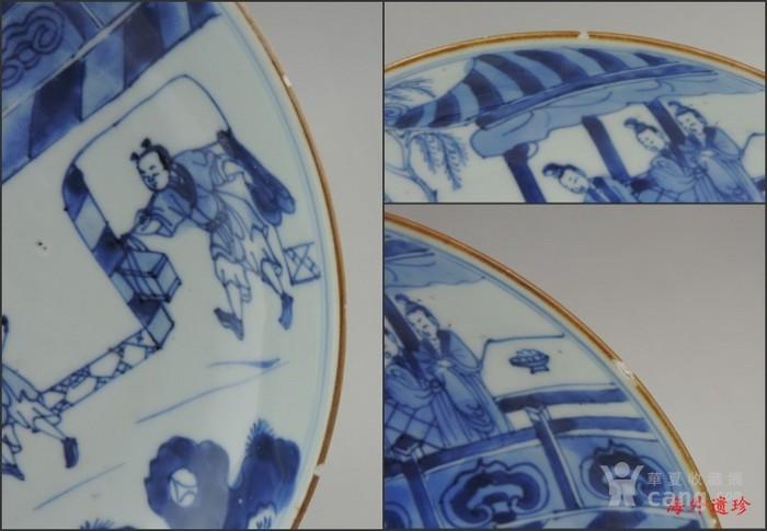清 雍正 青花西厢记庭院人物 对盘图8