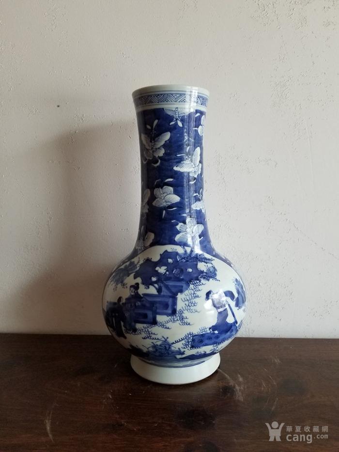 老瓷器 清代青花人物长颈瓶天球瓶 青花瓷 大清康熙年图片