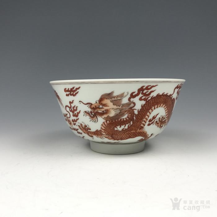 清代康熙 矾红龙纹碗图1