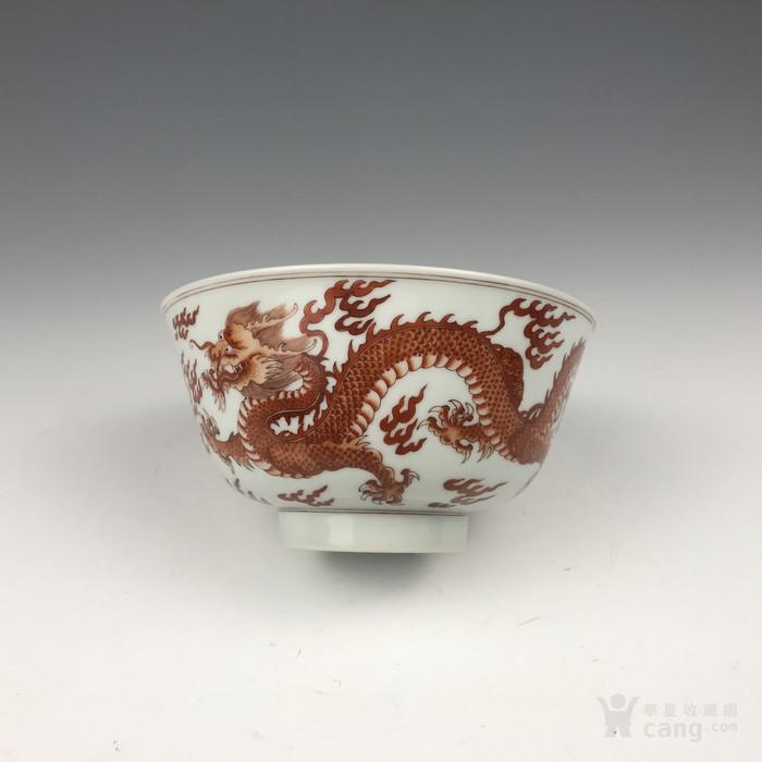 清代康熙 矾红龙纹碗图3