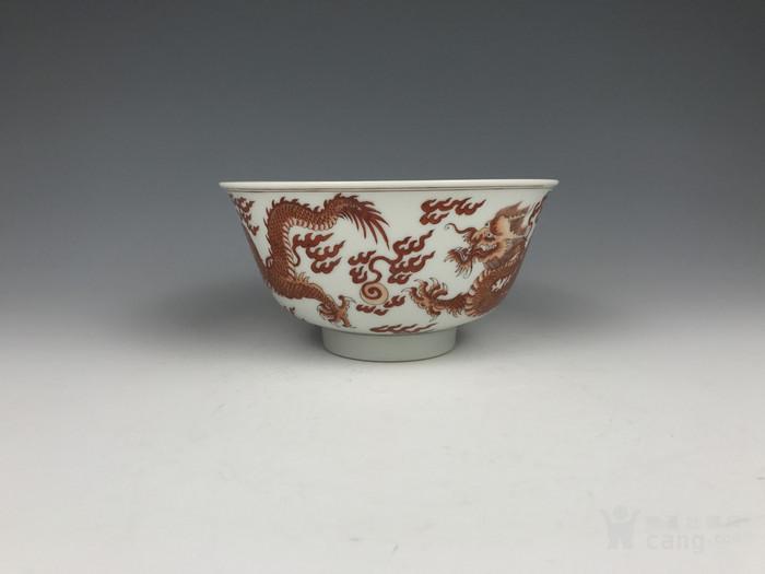 清代康熙 矾红龙纹碗图4