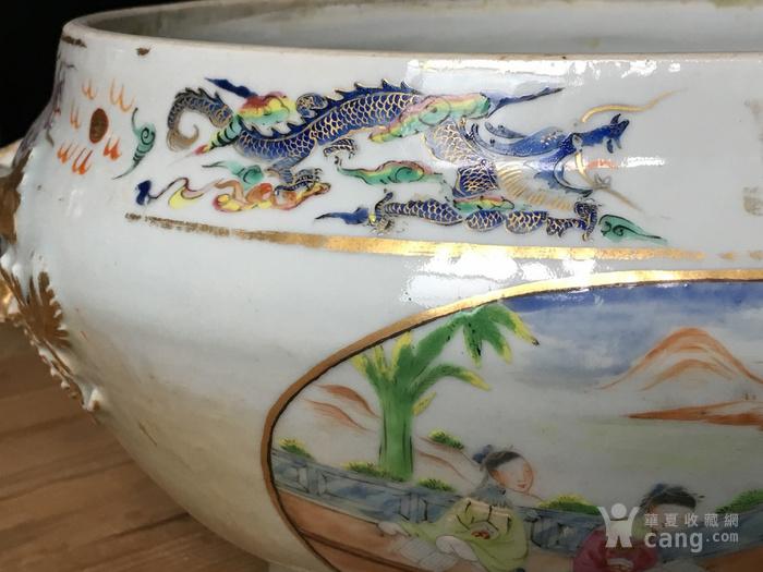 清嘉庆广彩外销大盖碗 修复,缺盖图6