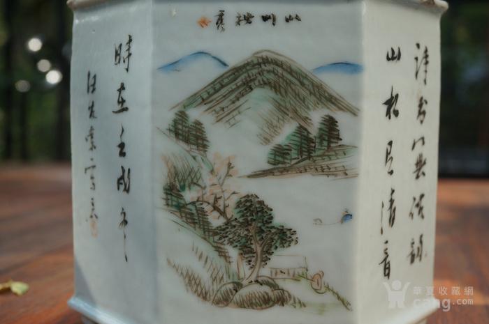 清汪友棠绘浅绛彩六棱茶叶罐图8