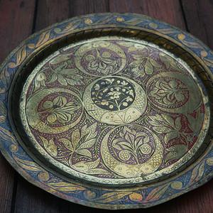 欧美手工雕刻纯铜大盘2个