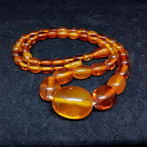 德国回流波罗的海天然血珀桶珠项链 精美优雅