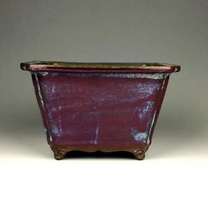 钧窑紫斑釉委角方盆