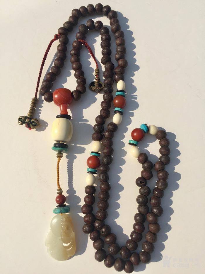 印第安河回流 百年老藏式108颗菩提带原装老 杵老计器一挂图1