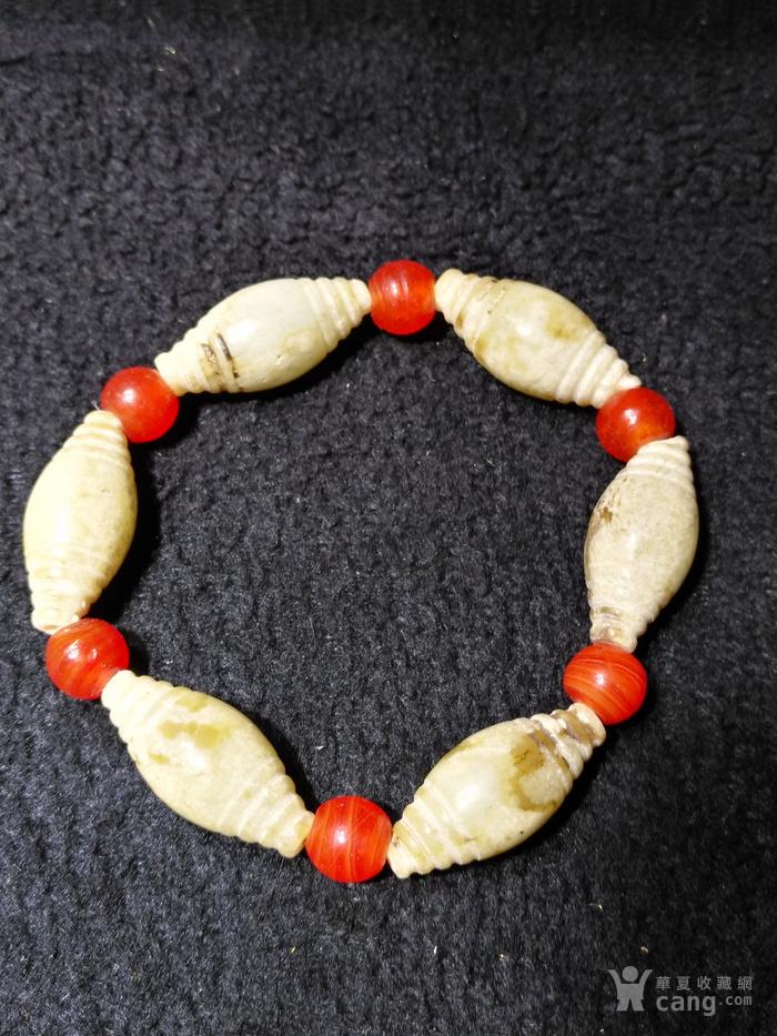 老玉纺锥形珠手链6颗图3