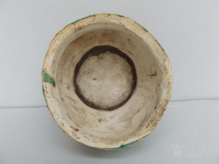 清代中晚期花草动物开光浮纹绿彩香炉图4