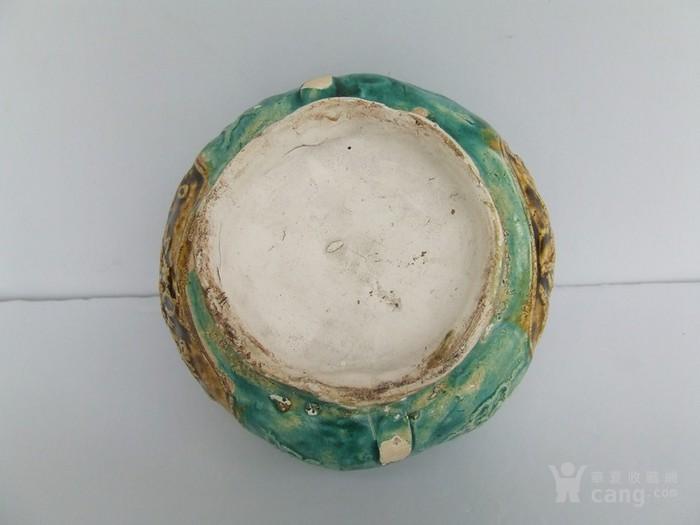 清代中晚期花草动物开光浮纹绿彩香炉图5