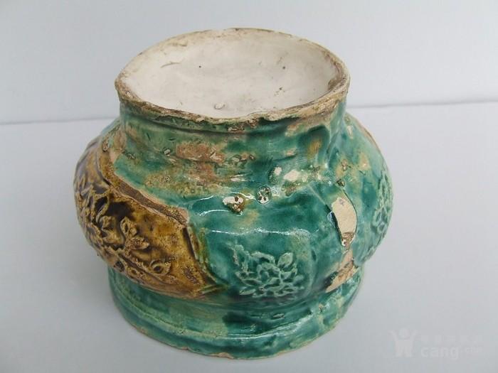 清代中晚期花草动物开光浮纹绿彩香炉图6
