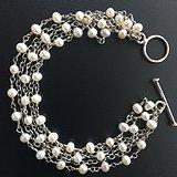 O0737 天然白珍珠五股纯银手链 送一珍珠银项链