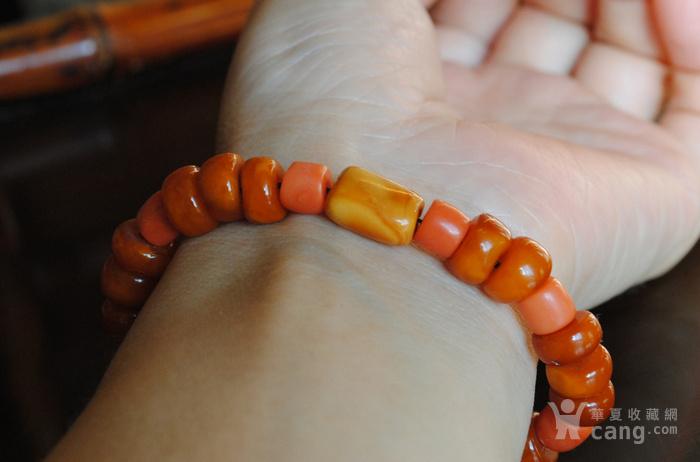 天然老蜜蜡与珊瑚手链图6