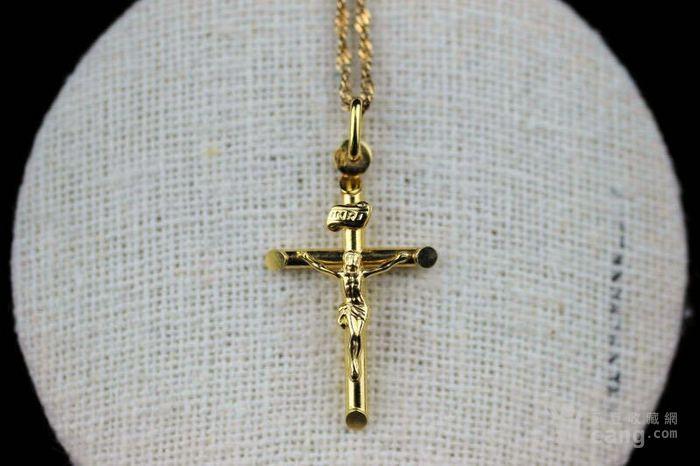 古董10K金十字架吊坠 项链。图1