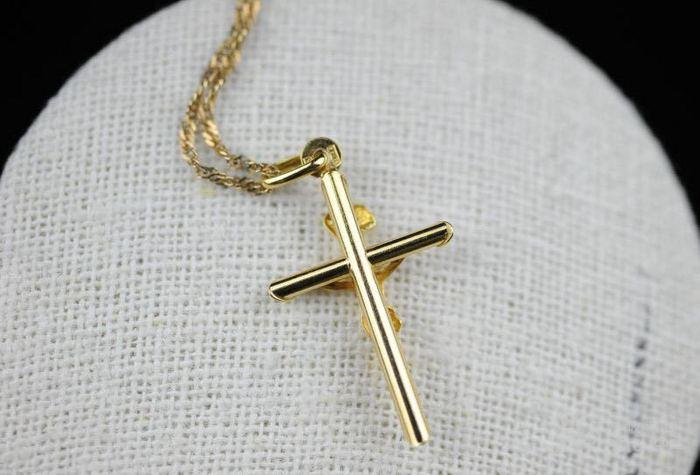 古董10K金十字架吊坠 项链。图4