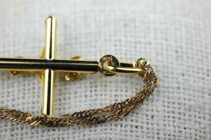 古董10K金十字架吊坠 项链。图6