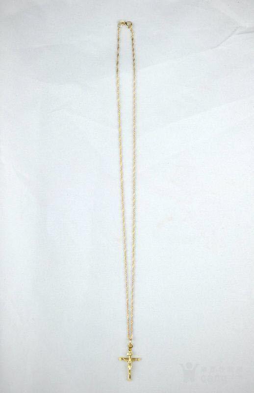 古董10K金十字架吊坠 项链。图8