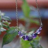 欧美天然紫水晶纯银锁骨链