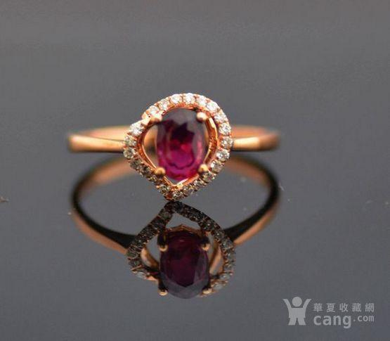 红宝石钻戒 天然缅甸抹谷红宝石镶南非钻石18K金女款钻戒图1