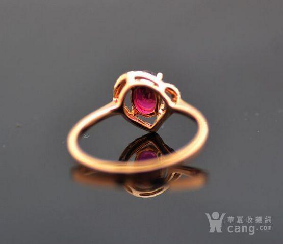 红宝石钻戒 天然缅甸抹谷红宝石镶南非钻石18K金女款钻戒图3