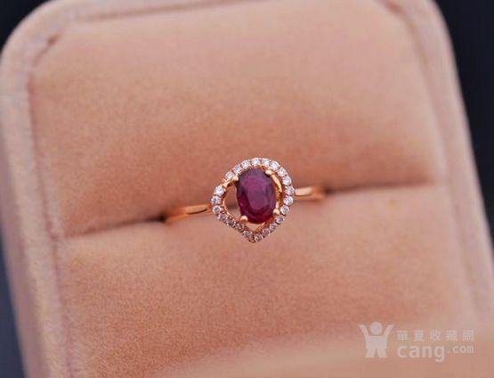 红宝石钻戒 天然缅甸抹谷红宝石镶南非钻石18K金女款钻戒图4