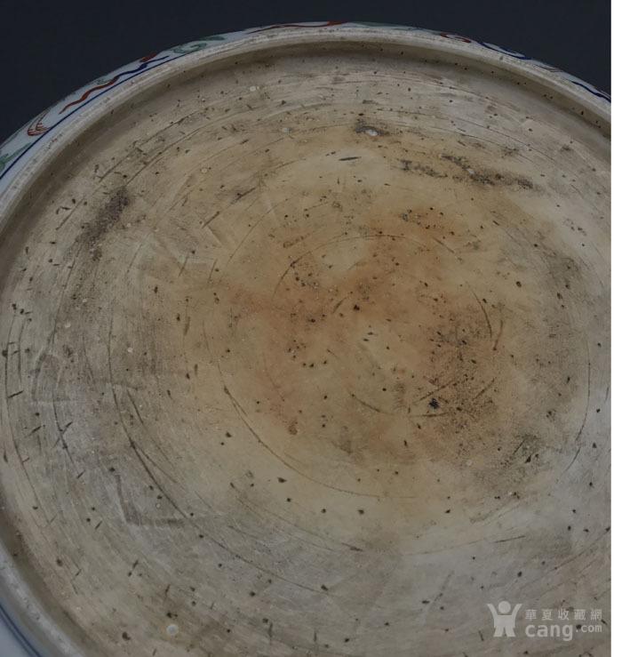 明代 五彩灵芝仙鹤纹大盘图8