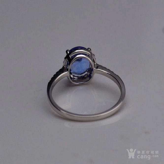 坦桑石戒指 天然坦桑石镶南非钻石18K白金女款戒指图4