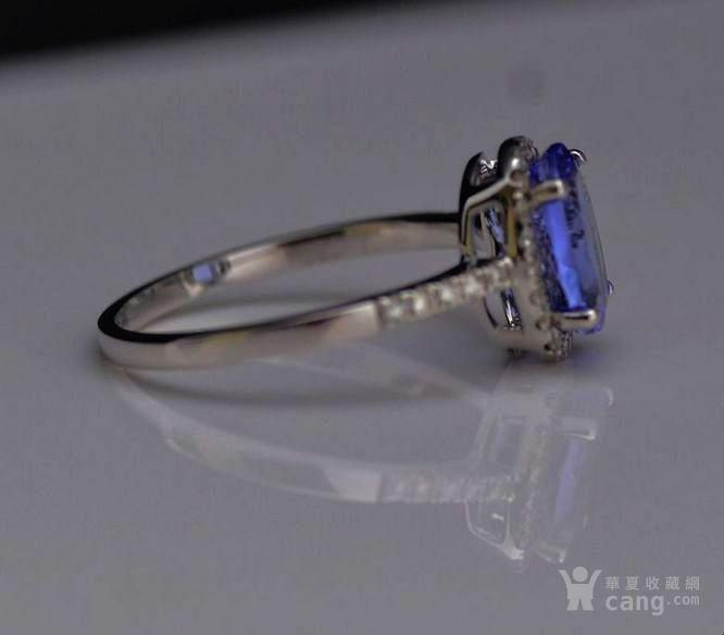 坦桑石戒指 天然坦桑石镶南非钻石18K白金女款戒指图2