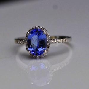 坦桑石戒指 天然坦桑石镶南非钻石18K白金女款戒指