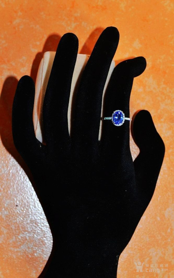 坦桑石戒指 天然坦桑石镶南非钻石18K白金女款戒指图5