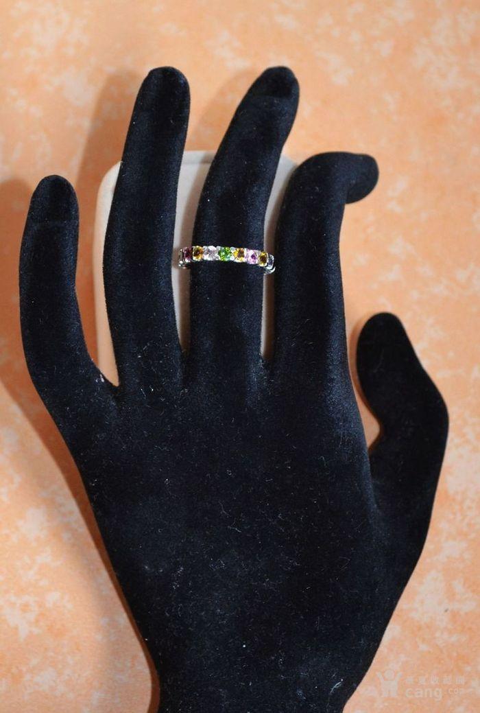 碧玺戒指 混色七彩小圆形碧玺镶925银戒指图2