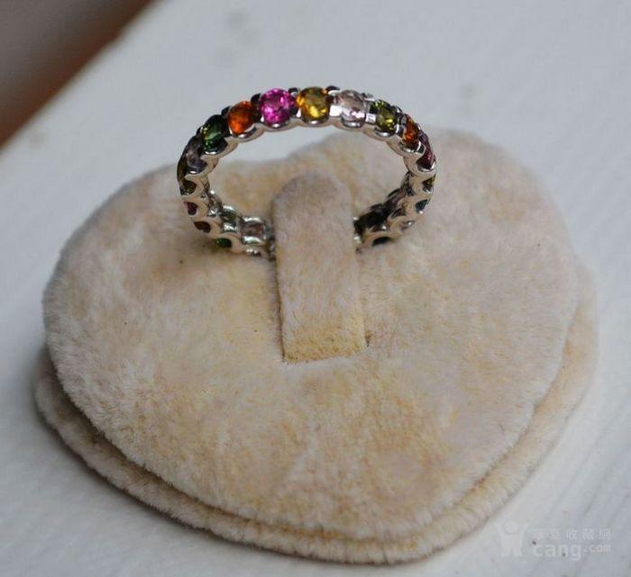 碧玺戒指 混色七彩小圆形碧玺镶925银戒指图4