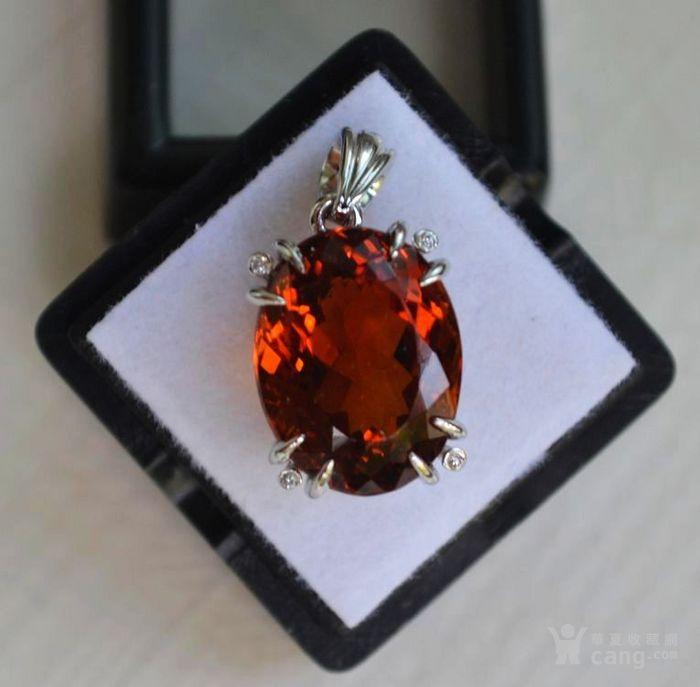 黄水晶钻石吊坠 15.8克拉纯天然黄水晶18K金钻石吊坠图1