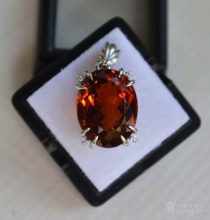 黄水晶钻石吊坠 15.8克拉纯天然黄水晶18K金钻石吊坠图6