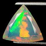 欧泊石 纯天然无任何处理欧珀 1.77克拉三边型 极靓七彩
