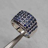 蓝宝石银戒指 天然斯里兰卡蓝宝石镀925银戒指